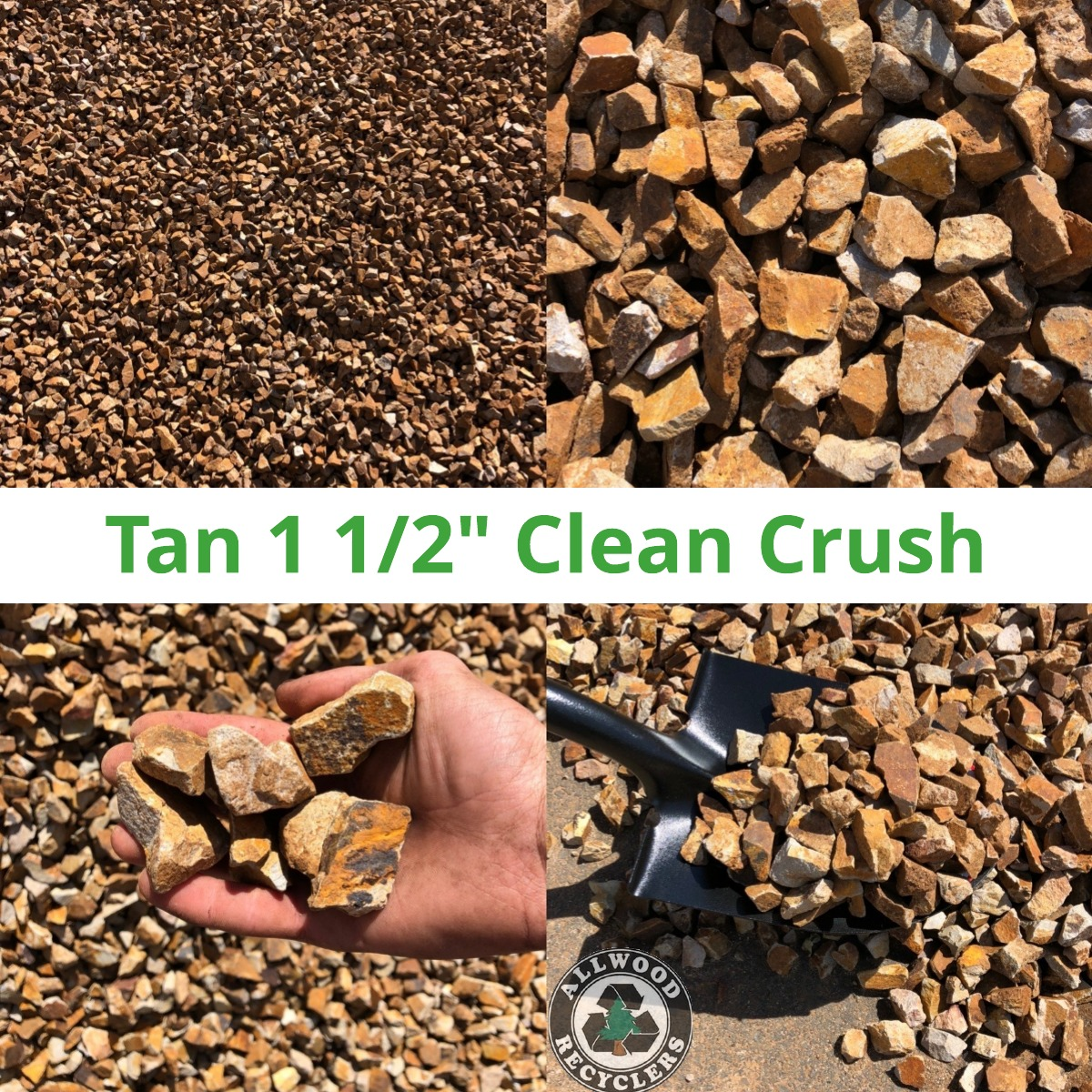 Tan 1 1/2 Clean Crush Rock